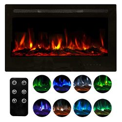 Homedex 36″ Recessed Mounted Electric Fireplace Insert with Touch Screen Control Panel, Re ...