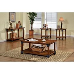 Furniture of America Karlton Industrial 3-Piece Accent Tables Set, Antique Oak