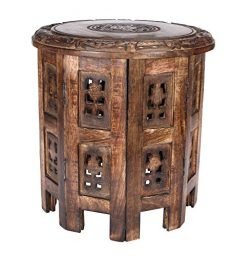 Solid Wood Hand Carved Accent Table, Side Table, Entryway Table, Wooden End Table, Bedside Table ...