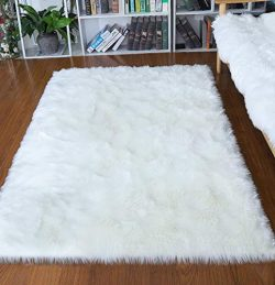 Junovo Ultra Soft Thick Fluffy Faux Sheepskin Area Rug, White Fur Rug for Living Room Bedroom Do ...