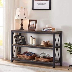 BON AUGURE Industrial Console Sofa Table, 3 Tier Horizontal Entry Tables with Open Shelf, Rustic ...