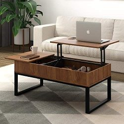 WLIVE Wood Coffee Table with Adjustable Lift Top Table, Mental Frame Hidden Storage Compartment  ...