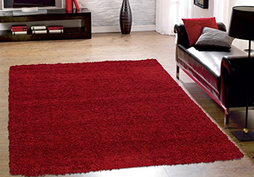 Sweet Home Stores Cozy Shag Collection Solid Shag Rug, 5'3″ X 7′, Red Color