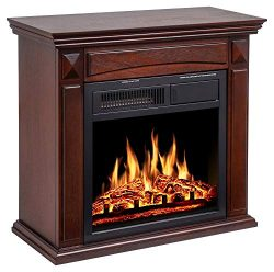 "JAMFLY 26"" Mantel Electric Fireplace Heater Small Freestanding Infrared Quartz Fireplace S ..."