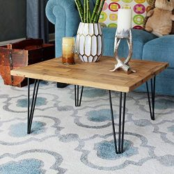 WELLAND Square Old Elm Coffee Table with Metal Stand, Brick Wall Shape Pattern