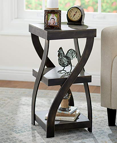Twisted Side Table – Modern Accent Table with Distressed Black Finish