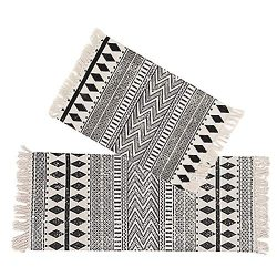 Kingrol 2 Pack Vintage Area Rugs, Cotton Printed Tassels Throw Rugs for Kitchen Living Room Bedr ...