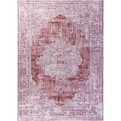 Decomall Traditional Vintage Oriental Distressed Abstract Area Rug for Living Room Bedroom, Burg ...