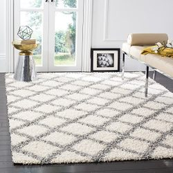 Safavieh Dallas Shag Collection SGD258F Ivory and Grey Area Rug (8′ x 10′)