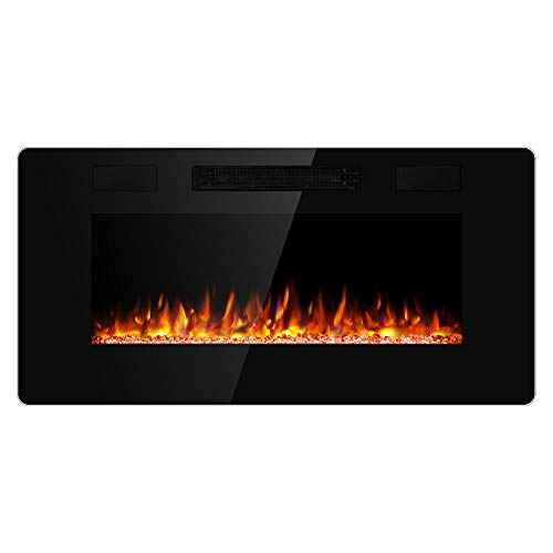 JAMFLY Electric Fireplace Wall Mounted 36 Inch Insert 3.86 Inch Super Thin Electric Fireplace Re ...