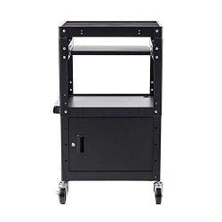 Commercial Grade Metal Rolling AV Cart – Presentation Cart with Storage Box – for TV ...