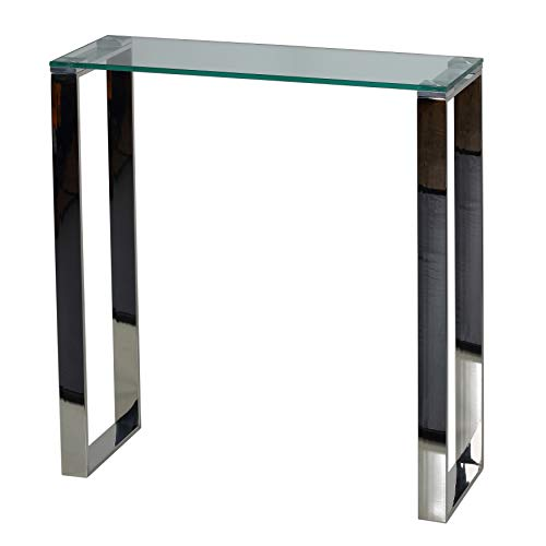 Cortesi Home CH-AT656924 Forli Small Entry Way Console Table Contemporary Glass and Stainless St ...