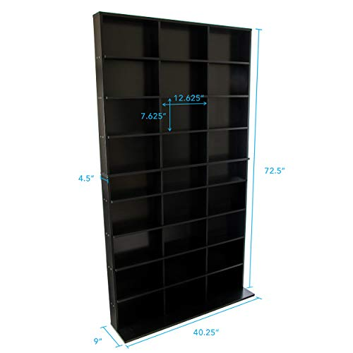 Atlantic Elite Media Storage Cabinet – New/Improved Tower, Stores 837 CDs, 630 Blu-Rays, 5 ...