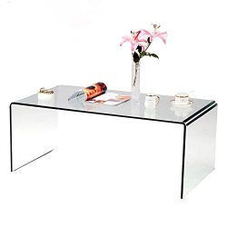 SMARTYK 1/2 Inch Thicken Tempered Glass Coffee Tables, Modern Decor Clear Coffee Table for Livin ...