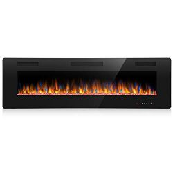 Joy Pebble 60 Inches Recessed Mounted Electric Fireplace with Remote Control – 1500/750W H ...