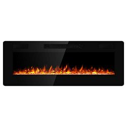 JAMFLY Electric Fireplace Wall Mounted 50 Inch Insert 3.86 Inch Super Thin Electric Fireplace Re ...