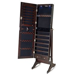 Facilehome Full Length Mirror Jewelry Cabinet Floor Standing Jewelry Armoire with LED Light,Brown