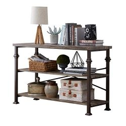Hombazzar 3 Tier Industrial Rustic Sofa Table, Rectangular Console Hall Entry Table with Storage ...