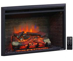 PuraFlame 33 Inches Wide, 21 Inches High, Western Electric Fireplace Insert with Fire Crackling  ...