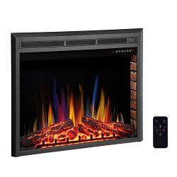 R.W.FLAME 28″ Electric Fireplace Insert,Freestanding & Recessed Electric Stove Heater, ...