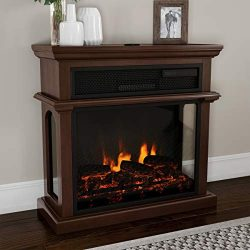 Northwest 80-FPWF-5 Freestanding Electric Fireplace-3-Sided Space Heater with Mantel, Remote Con ...