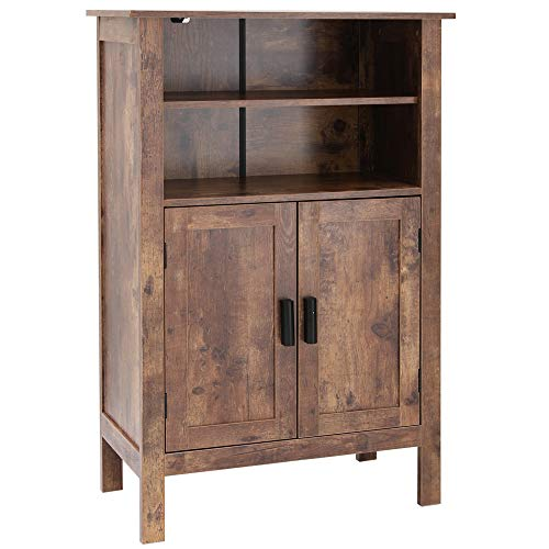 usikey Retro Wooden Bookcase with Double Door, Storage Cabinet, Bathroom Cabinet, Shoe Bench, St ...