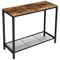 VASAGLE INDESTIC Console Table, Sofa Table, Entryway Table with Metal Mesh Shelf, 39.4 x 13.8 x  ...