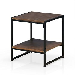 Furinno FM4045ST-2DW Modern Lifestyle 2-Tier End Table, Dark Walnut