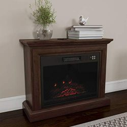 Northwest 80-FPWF-1 Heat Mobile Electric Fireplace with Mantel-Portable Heater on Wheels, Remote ...