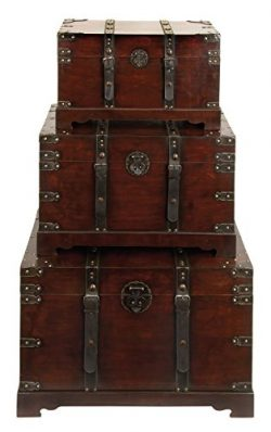 Wood And Leather Antique Style Trunks (Set Of 3)