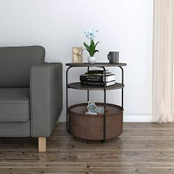 Lifewit Round Side Table End Table with Fabric Storage Basket in Livingroom, Nightstand in Bedro ...