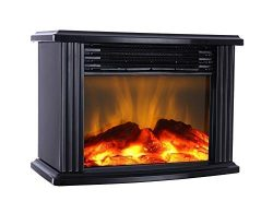 DONYER POWER 14″ Width Mini Electric Fireplace Tabletop Portable Heater, 1500W, Black Meta ...