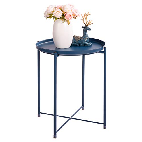 HollyHOME Tray Metal End Table, Sofa Table Small Round Side Tables, Anti-Rust and Waterproof Out ...