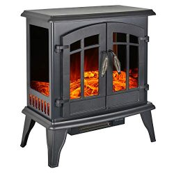 Portable Electric Fireplace Stove 23-inch Freestanding Heater for Living Room w/Realistic Burnin ...