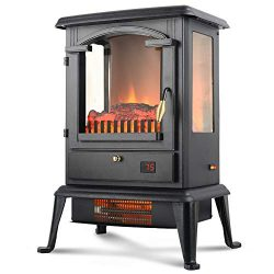 LIFE SMART Quarts Infrared Electric Fireplace Stove Heater with Remote Control – Electric  ...