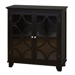 Target Marketing Systems Sydney Accent Storage Cabinet with Trellis Overlay Glass Doors and 2 Sh ...