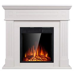 JAMFLY Electric Fireplace Mantel Package Wooden Surround Firebox Ivory TV Stand Free Standing El ...