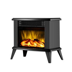 DONYER POWER 14.8″ Mini Electric Fireplace Tabletop Portable Heater, 1500W, Black Metal Fr ...