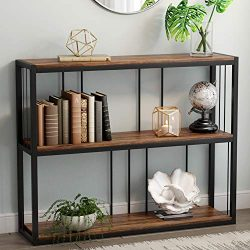 Tribesigns 3-Tier Vintage Industrial Console Table, Sofa Entry Table with Wood Veneer for Home,  ...