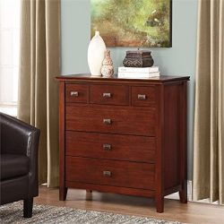 Simpli Home 3AXCART-04 Artisan Solid Wood 36 inch wide Contemporary Bedroom Chest of Drawers in  ...