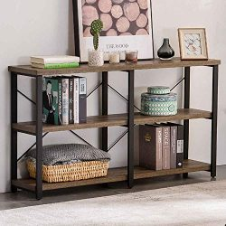 GRELO HOME Rustic Entryway Table, Tv Console Table with Storage Shelf,Metal and Wood Entry Table ...