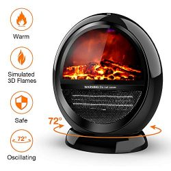 Space Heater – Bedroom Space Heater with 2 Heat Settings, Electric Space Heater with Tip-O ...