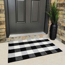 Cotton Buffalo Plaid Rugs Black and White Checkered Rug Welcome Door Mat (23.6″x35.4″ ...