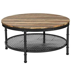 IRONCK Industrial Round Coffee Table for Living Room, Round Cocktail Table with Storage, Sturdy  ...