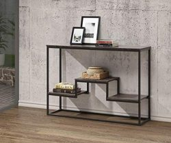 Weathered Grey Finish Accent Console Sofa Table with Display Shelves Storage