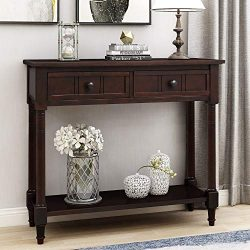 P PURLOVE Console Table Sideboard Wooden Sofa Table with 2 Drawers and Bottom Shelf for Bedroom  ...
