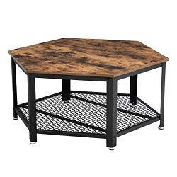 VASAGLE Industrial Coffee Table, Hexagonal Wooden Table, Stable Metal Frame and Mesh Shelf, Rust ...