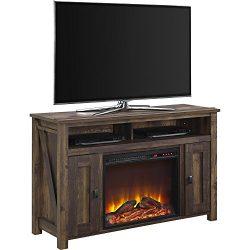Ameriwood Home Farmington Electric Fireplace TV Console for TVs (50″, Rustic Oak)