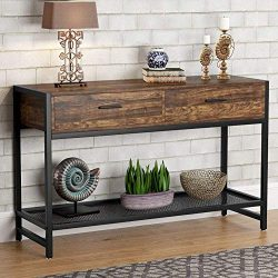 Tribesigns Rustic Console Table with 2 Drawers, 47 inch Industrial Sofa Entry Table TV Stand Med ...