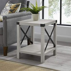 WE Furniture AZF18MXSTST Modern Farmhouse Square Side End Table, Stone Grey